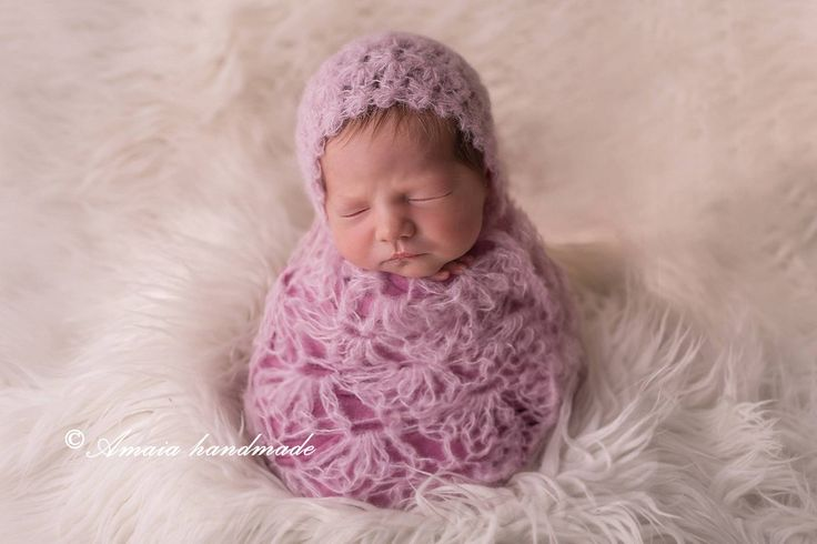 Newborn wrap set - crochet baby girl bonnet and lace wrap - Beautiful newborn photo prop - multiple colors - very soft alpaca wool by Amaiahandmade on Etsy
