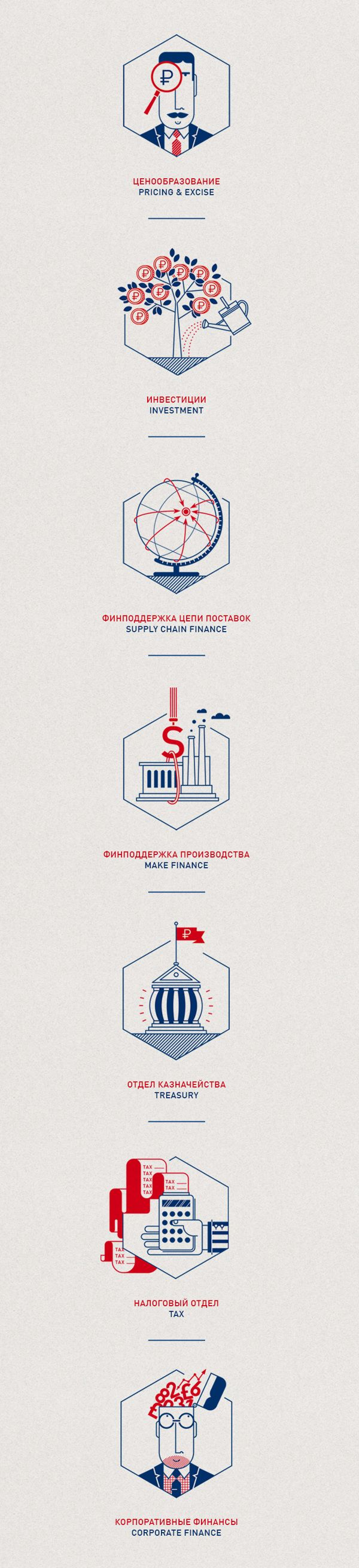 Financial Icons by Olja Ilyushchanka, via Behance (Two colors, very linear)