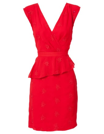 We love this embroded scarlet red tuck detail dress from Fluerette by Fleur Wood.