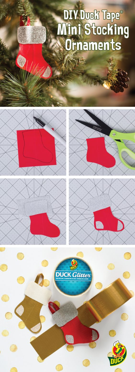DIY Duck Tape Mini Stocking Ornaments. Step-by-step instructions here: http://duckbrand.com/craft-decor/activities/mini-stocking-ornament