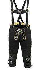Damen Trachten Kniebundhose Jeans Hose kostüme mit Hosenträgern Schwarz Größe:38
