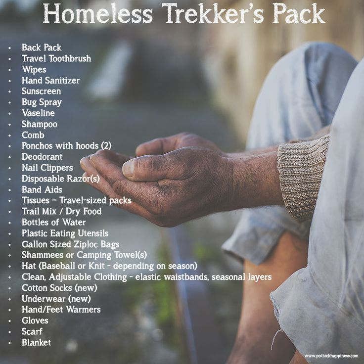 Trekker's Packs for the Homeless - make a difference in your community. For around $25, you can put these Trekker's Packs together and pass them out to those in need.  #potluckhappiness #humanity #compassion