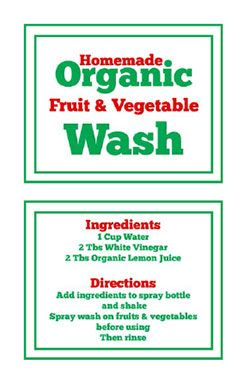 Organic Fruit and Vegetable Wash and Spray- Super simple to make at home with just 2 ingredients. Plus you can print a FREE front