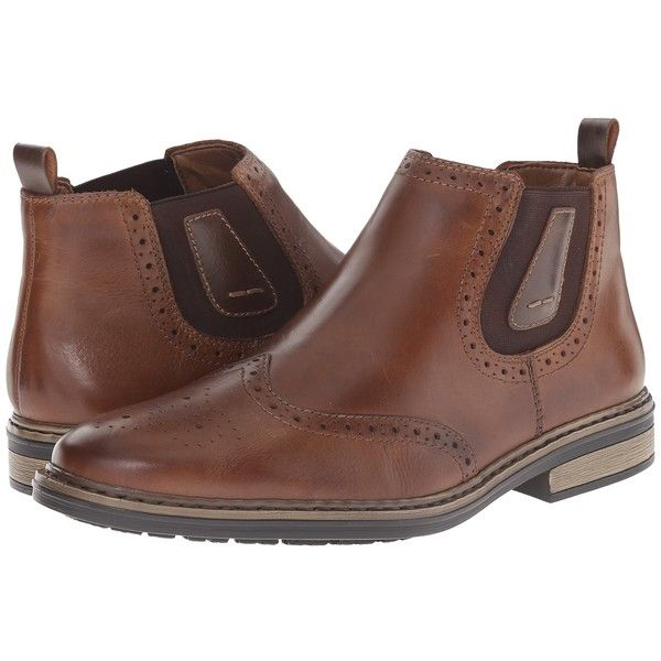 Rieker 37681 (Tabak Ramon) Men's Pull-on Boots (495 ILS) ❤ liked on Polyvore featuring men's fashion, men's shoes, men's boots, mens short boots, mens platform shoes, men's pull on boots, mens leather ankle boots and mens fleece lined boots