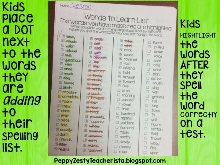 How to differentiate your Spelling Lists – Peppy Zesty Teacherista