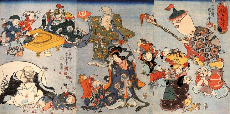 Les Sept Divinités du Bonheur du Japon (Les Shichi fukujin) - Plusieurs divinités japonaises ont été transmises de l'Inde vers la Chine, puis de la Chine vers le Japon, parmi lesquelles peuvent être comptées ces sept divinités. Elles ont souvent été l'objet de représentation dans l'art et l'artisanat, notamment de netsuke.