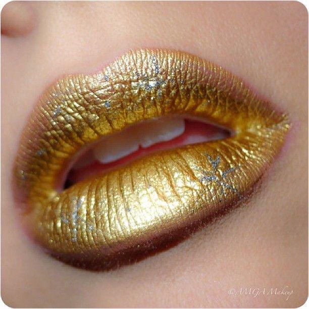 liquid metallic gold lips by @Keith Binkowski   Grand gold ...