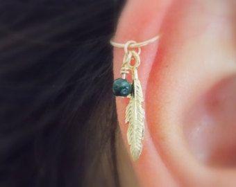 Cartilage hoop Earring tiny leaf silver by sofisjewelryshop