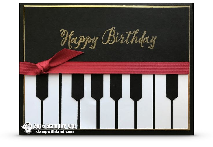CARD For today's how-to video, I'm sharing this elegant piano card. It is surprisingly easy to create, and super cool for the music lover in your life. I used the Stampin Up Feather Together stamp set for the Happy Birthday greeting. But you can switch this card up for