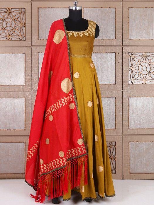 Olive Silk Long Anarkali Suit