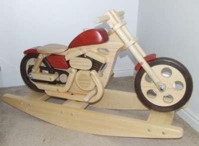 Wooden motorcycle rockers our kids toys and why not for Woodworking plan for motorcycle rocker toy