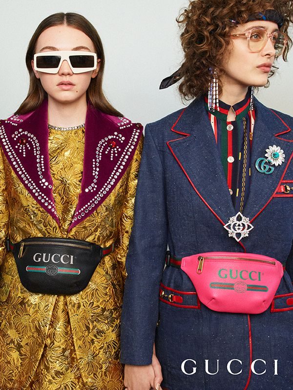 db3e5f1d4 Inspired by retro-style prints from the 80s, the Gucci vintage logo appears  on new leather belt bags.