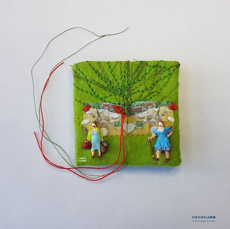 SOLD #17 Food for Thought.  minimass® TINY ART by Anne-Marie Ros .nl Made in commission.