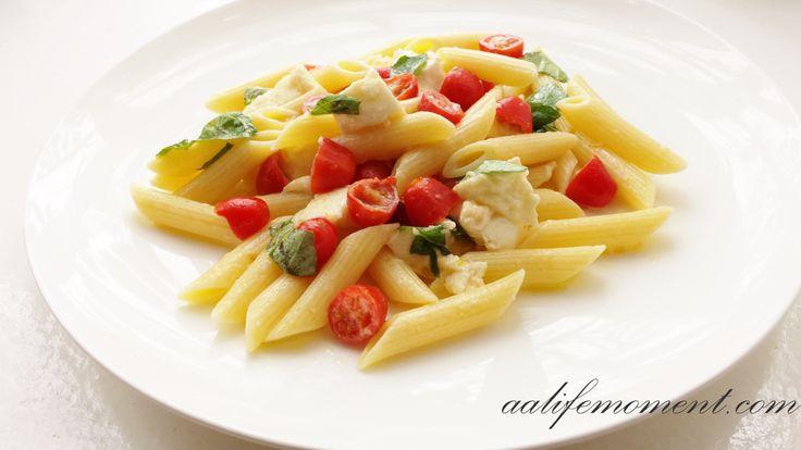 Summer Pasta Salad with Mozzarella, Cheddar, Cherry Tomatoes and Fresh Basil