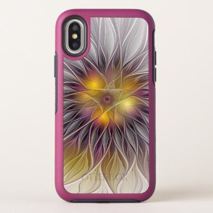 Luminous Colorful Flower Abstract Modern Fractal iPhone X Case - diy cyo personalize design idea new special