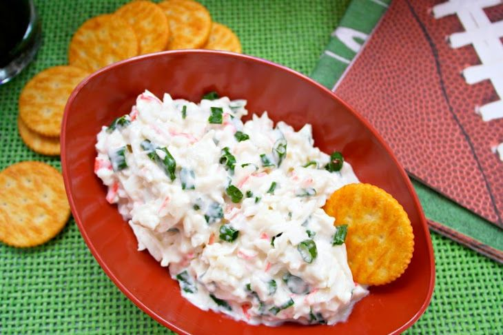 Make Ahead Cold Crab Dip Recipe Appetizers with sour cream, cream cheese, chopped green chilies, imitation crab meat, green onions, lemon juice
