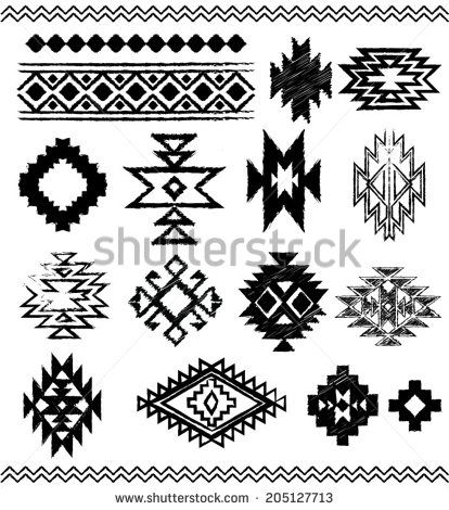 Hand  Drawn Look Aztec Navajo Indian Vector Pattern Pages Stock