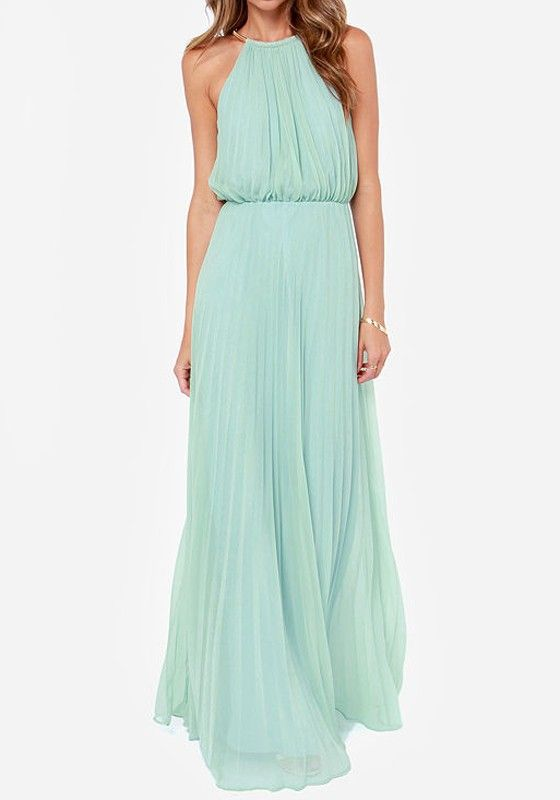 Light Green Plain Draped Sleeveless Elegant Chiffon Maxi Dress - Maxi Dresses - Dresses