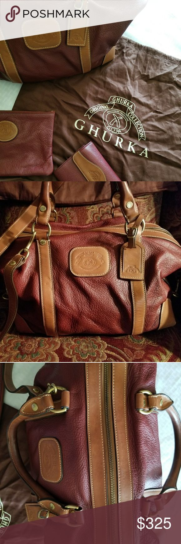 🐎Ghurka Satchel (Burgundy)🐎 Original No 585 Ghurka, The Minicav Bag. The Ghurka name is known for their handcrafted quality leather products. The value of this purse is  over $1000, but when sold on formerly known as Shop Nbc, it was $650 plus. Minor wear to purse, specifically the corners of purse. No spots or ink marks inside purse. Two spots on strap as seen in pictures outside near zipper area w/normal wear to hardware. Perfect for any lady, but I can see my fellow country life lovers…