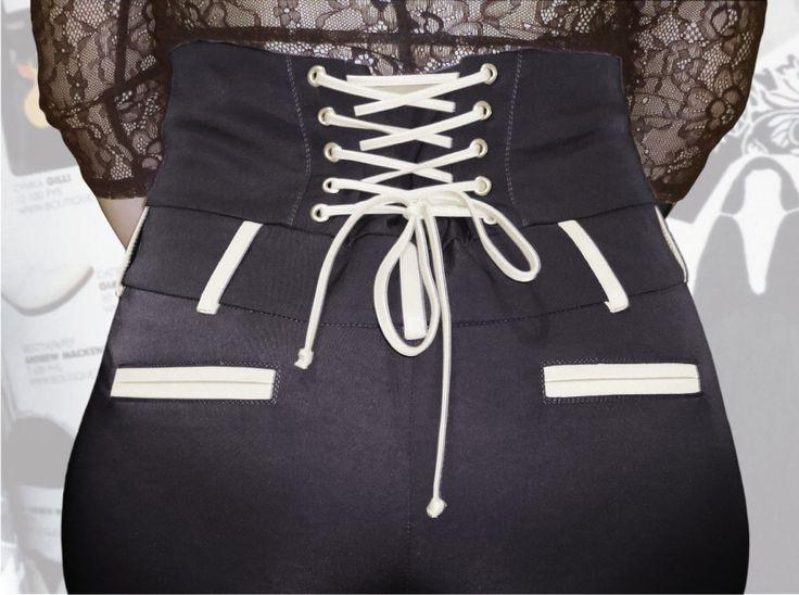 57$ Узкие брюки для полных девушек с завышенной талией и шнуровкой Артикул 640, р50-64 Брюки с завышенной талией большие размеры  Брюки деловые большие размеры  Брюки офисные большие размеры  Брюки черные большие размеры