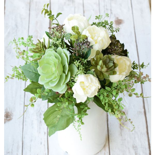 Natural Touch Succulents And English Roses Silk Arrangment Centerpiece 1 205 Ars