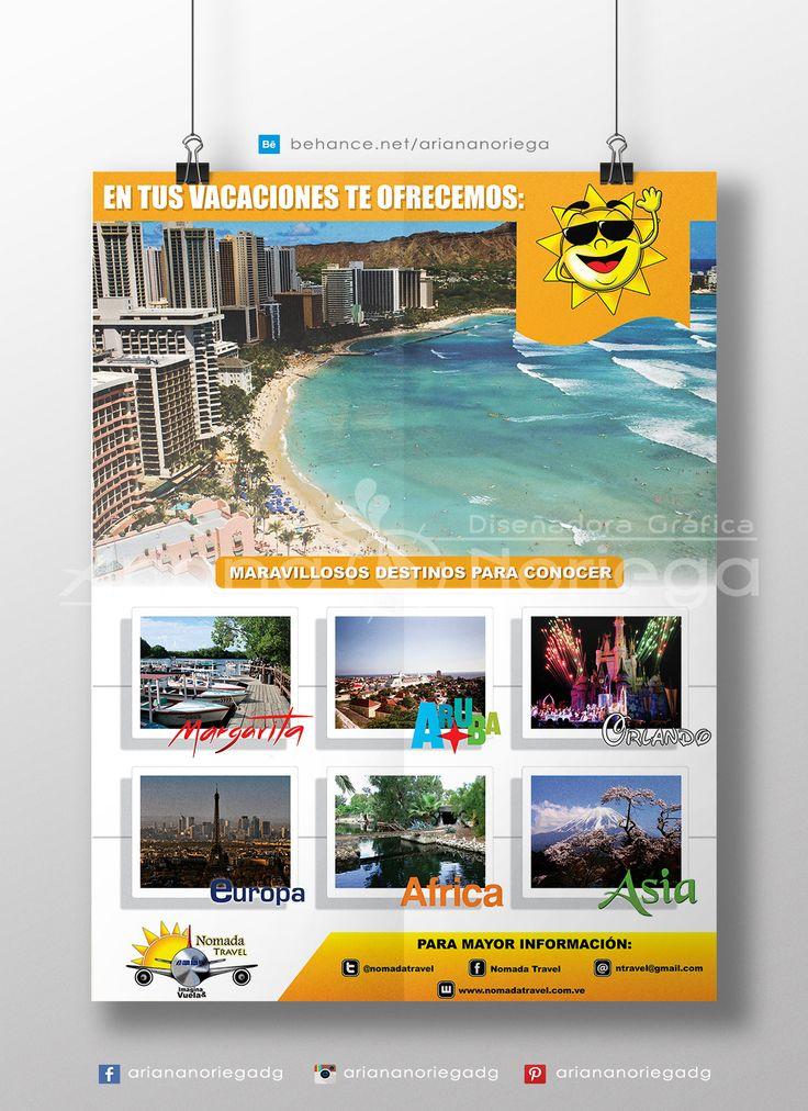 Diseño de Pendón publicitario realizado para la agencia de viajes Nómada Travel