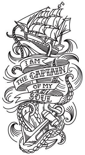"""The last line of William Ernest Henley's poem """"Invictus"""" takes on a life of its own in this nautical tattoo sleeve design. Downloads as a PDF. Use pattern transfer paper to trace design for hand-stitching.:"""