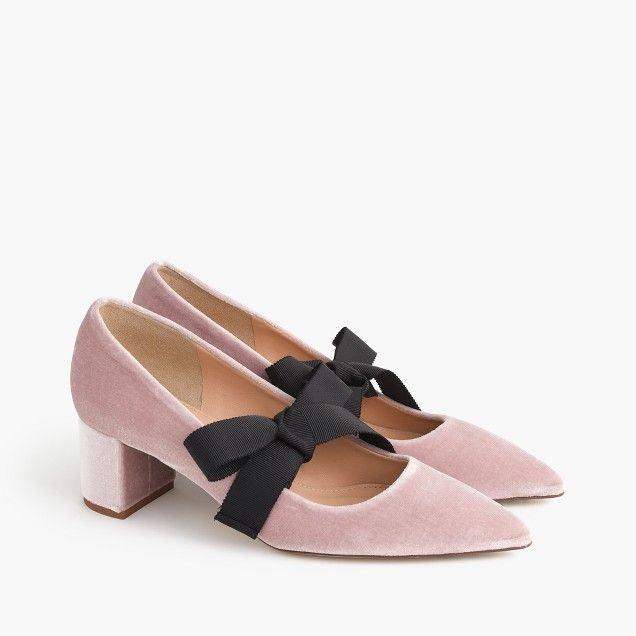 Avery velvet pumps with bow