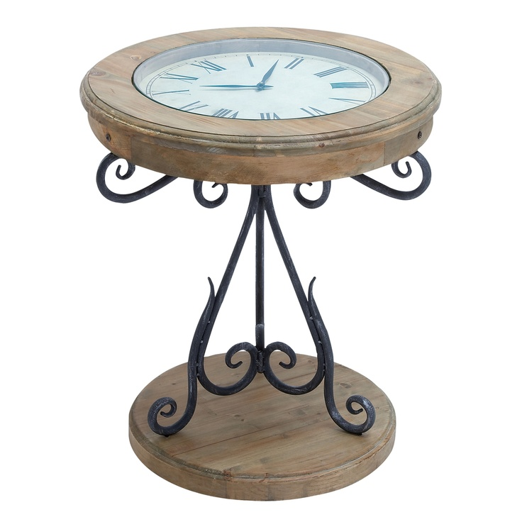 Casa Cortes Exposed Wood Round Clock Coffee And End Table | Overstock.com
