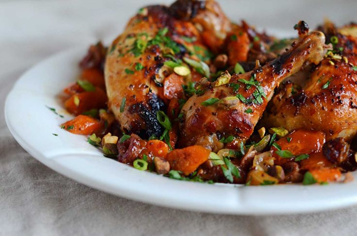 As far as chicken dishes go, this one, studded with carrots, dates and pistachios, is about as festive as they get. The dates and honey make it a natural for Rosh Hashanah, but it would be just as welcome at a Purim, Chanukah or Shabbat meal. Don't be put off by the long list of...