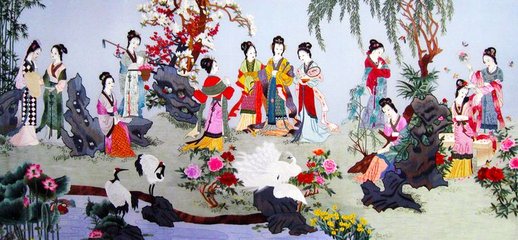 Ladies in a Garden #Handmade #Silk #Embroidery #Art 75085 http://www.queensilkart.com/100-handmade-embroidery-framed-people-ladies-in-a-garden-75085/ This gorgeous masterpiece is not only exquisitely stitched, with dimension, detail and color, but it is also filled with symbolic meanings. The scene is from one of China's Four Great Classical novels, Hong Lou Meng, The Dream of Red Mansions in English. This 18th century classic depicts many aspects of traditional Chinese culture.
