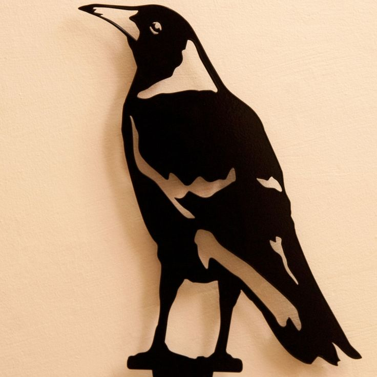Garden Accessories -- Magpie - On watch -- Enhance your garden with a unique Australian designed and manufactured piece of metal artwork. This life size Magpie - On Watch image is a delight and will stylishly integrate into your outdoor living space.