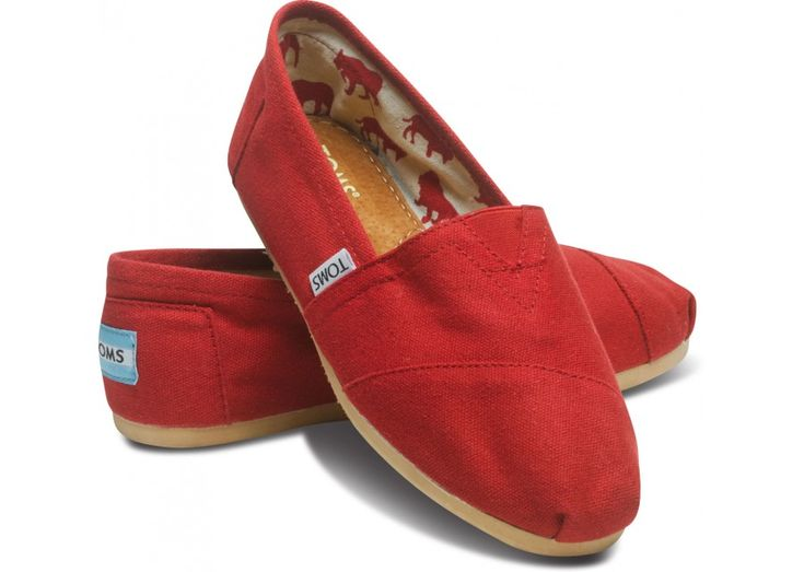 Wear with all black for a pop of color or all red for a monochromatic look #TOMS classics