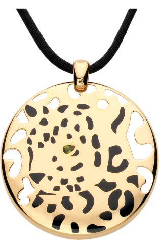 Panthère de Cartier necklace Yellow gold, lacquer, tsavorite garnet