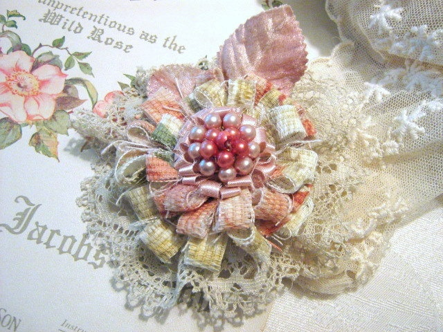 Flower Pin, Brooch, Corsage, Raspberry Cream. $34.50, via Etsy.