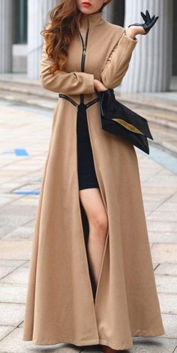 Looks I LOVE! Camel Color + Black Trim Zipper Slim Band Collar Maxi Wool Coat. Looks regal