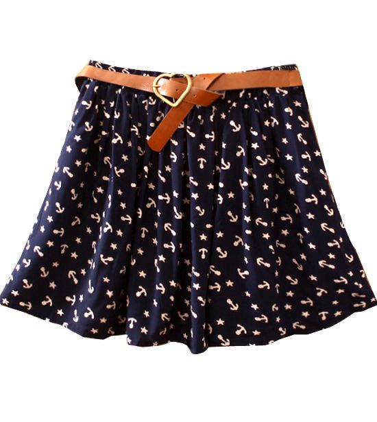 Anchor Print Cotton Skirt