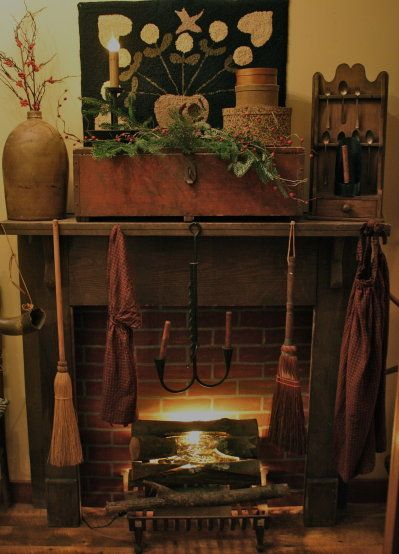 Primitivesold Fireplace Jug Box Spoon Rack Hooked Rug