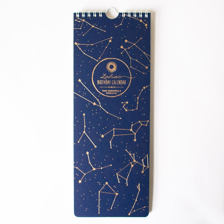 This awesome letterpress calendar begins in the middle of March, in accord with the first sign of the zodiac, Aires. Open-dated and featuring the astrological c