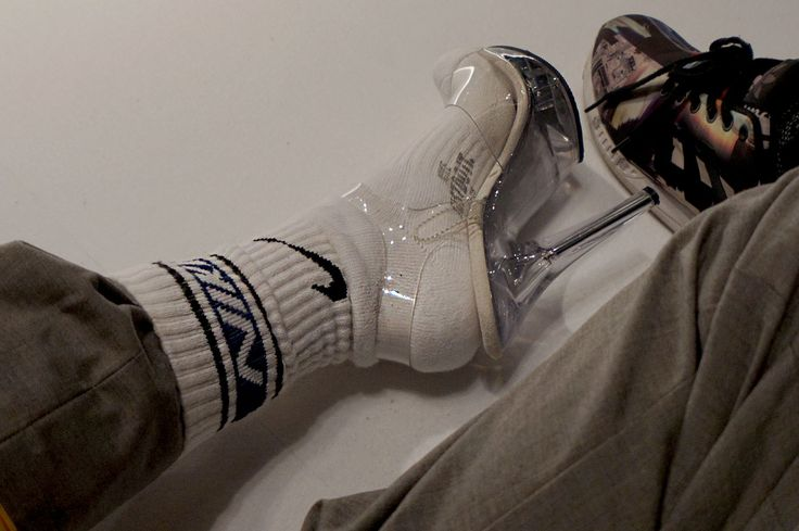 socks, heel,s nike socks, transparent high heels, street wear street style