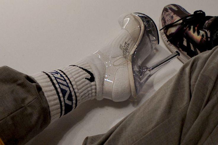 socks, heel,s nike socks, transparent high heels, street wear street style