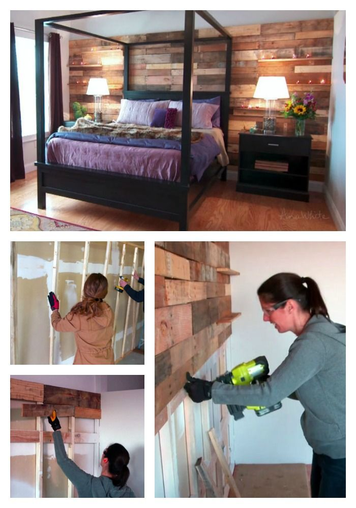 Thinking of doing a pallet or wood wall?  Here's tips to make it easier and not trash your drywall. pallet plank wood wall diy how to tutorial easy fast reclaimed accent wall from ANA-WHITE.com