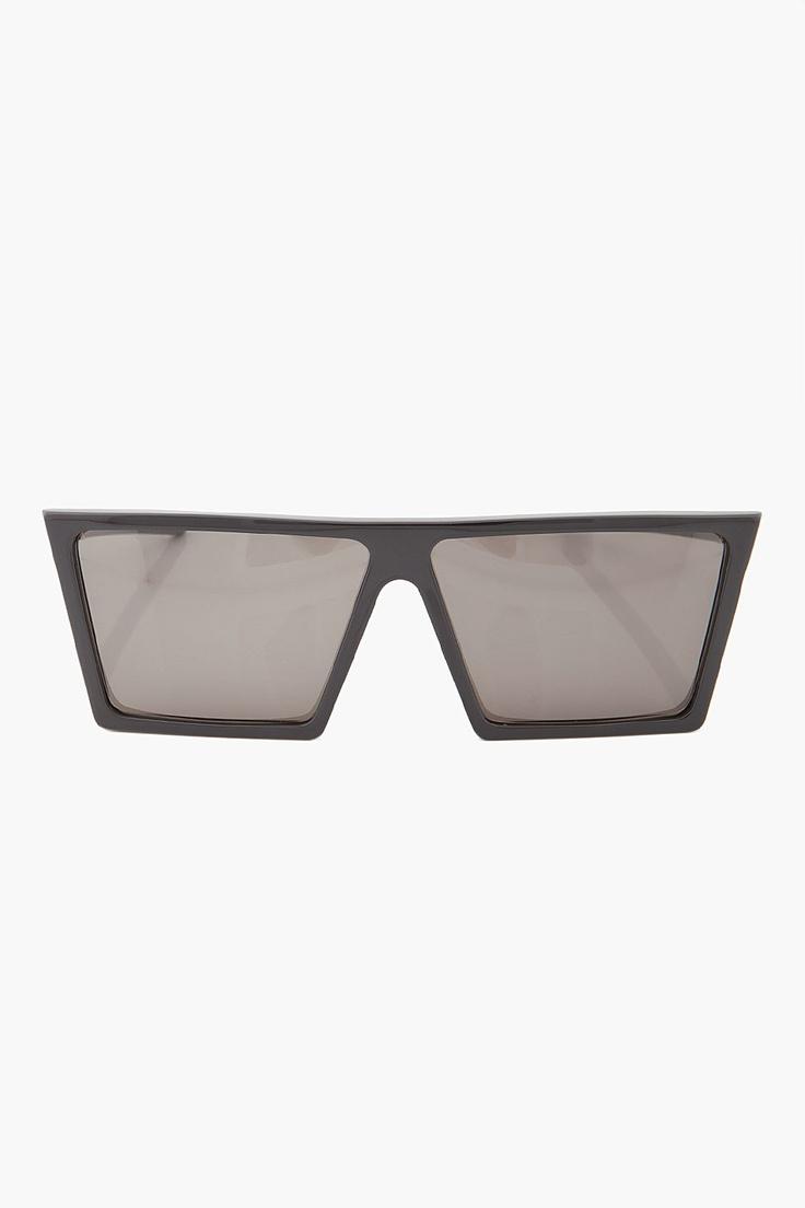 Super: Black Square frame flat top plastic sunglasses