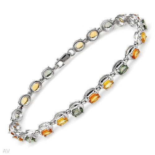 $195 Sterling Silver CTW Sapphire Ladies Bracelet. Length 7.5 in. Total Item weight g. 10.5 11.1