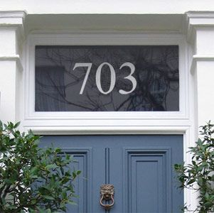 Contemporary Designs|House Numbers|Purlfrost - The name for window film and wall coverings.