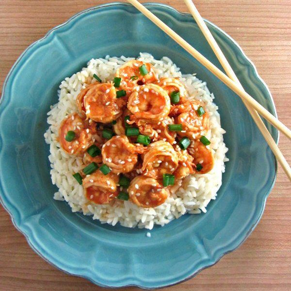 10 Minute Sweet & Spicy Shrimp Recipe Main Dishes with shrimp, pineapple…