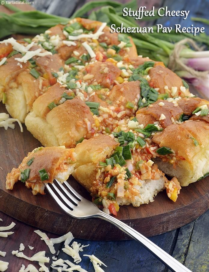 Stuffed Cheesy Schezuan Pav Recipe, Starter