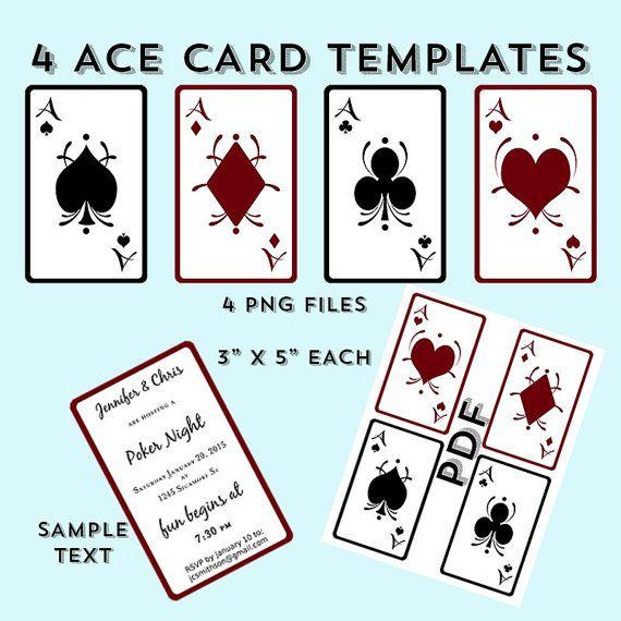Digital Ace Card Templates - Heart - Diamond - Club - Spade - Birthday - Shower - Invite - Download - PNG - PDF - Print