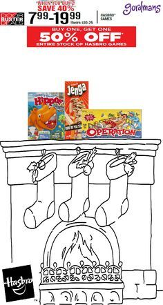 Buy one, Get one 50% off all Hasbro Games for Black Friday! What a great deal one games like Hungry, Hungry Hippo, Jenga, and Operation! Check out our Black Friday ad online now!