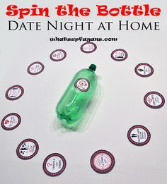 Spin the Bottle Date Night at home - Create some excitement with this date night in (as part of a year of dates gift idea) and some fun! whatsupfagans.com month 11